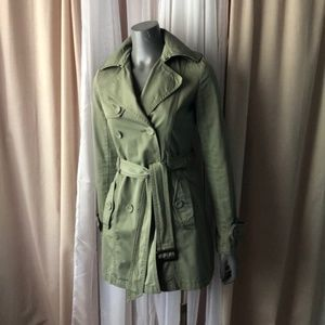 American Eagle Olive Cotton Button Trench XS